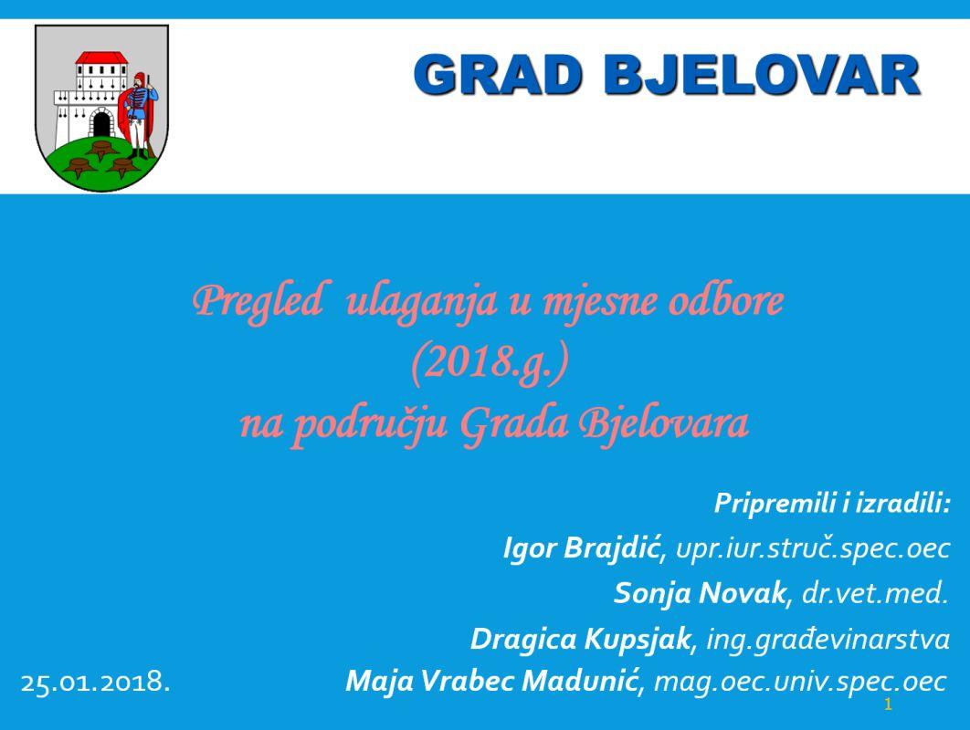 Pregled ulaganja u mjesne odbore na području Grada Bjelovara (2018.g.)